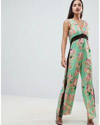 Combinaison pantalon à fleurs verte ASOS DESIGN