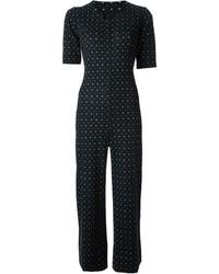 Combinaison pantalon á pois noire et blanche Saint Laurent