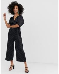 Combinaison pantalon á pois noire Warehouse