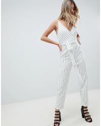 Combinaison pantalon à rayures verticales blanche et noire