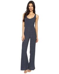 Combinaison pantalon à rayures verticales bleu marine