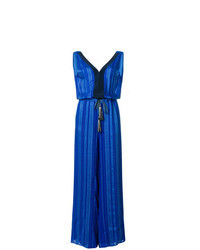Combinaison pantalon à rayures verticales bleue