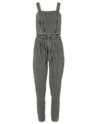 Combinaison pantalon à rayures verticales noire et blanche