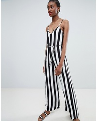 Combinaison pantalon à rayures verticales noire et blanche New Look