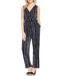 Combinaison pantalon à rayures verticales noire