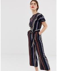 Combinaison pantalon à rayures verticales noire Warehouse