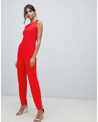 Combinaison pantalon brodée rouge French Connection