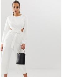 Combinaison pantalon découpée blanche Missguided