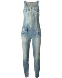 Combinaison pantalon en denim bleu clair Diesel