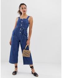 Combinaison pantalon en denim bleu marine Miss Selfridge