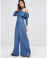 Combinaison pantalon en denim bleue Asos