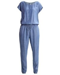 Combinaison pantalon en denim imprimée bleue Esprit