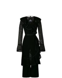 Combinaison pantalon en dentelle à volants noire Marc Jacobs