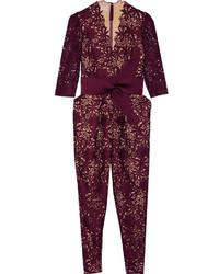 Combinaison pantalon en dentelle bordeaux