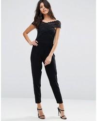 Combinaison pantalon en dentelle noire Asos