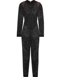 Combinaison pantalon en dentelle noire Balmain