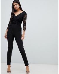Combinaison pantalon en dentelle noire Little Mistress