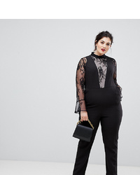 Combinaison pantalon en dentelle noire Lovedrobe