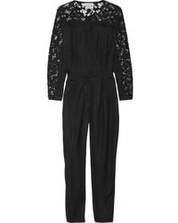 Combinaison pantalon en dentelle noire Sea