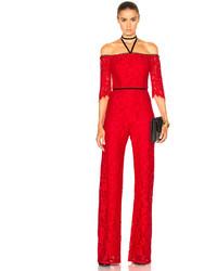 Combinaison pantalon en dentelle rouge Alexis