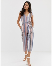 Combinaison pantalon en lin à rayures verticales multicolore Miss Selfridge