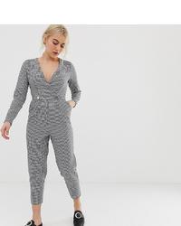 Combinaison pantalon en pied-de-poule noire Miss Selfridge Petite
