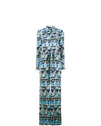Combinaison pantalon en satin géométrique turquoise La Doublej