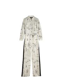 Combinaison pantalon en soie imprimée blanche Burberry
