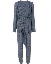 Combinaison pantalon en soie imprimée bleue Stella McCartney