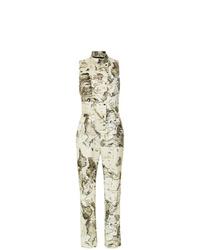 Combinaison pantalon imprimée beige Andrea Marques