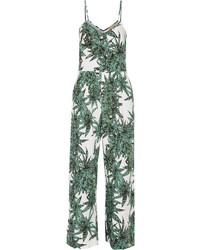 Combinaison pantalon imprimée blanc et vert