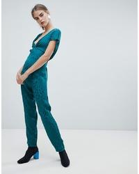 Combinaison pantalon imprimée bleu canard New Look