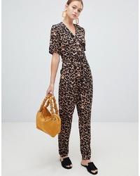 Combinaison pantalon imprimée léopard marron foncé New Look