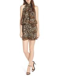Combinaison pantalon imprimée léopard marron