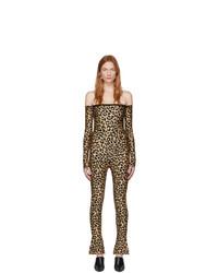 Combinaison pantalon imprimée léopard marron Halpern