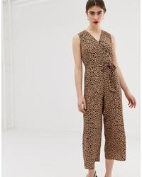 Combinaison pantalon imprimée léopard marron Warehouse