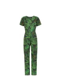 Combinaison pantalon imprimée verte Isolda