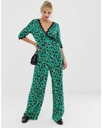 Combinaison pantalon imprimée verte Liquorish