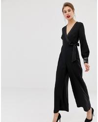 Combinaison pantalon ornée noire Warehouse