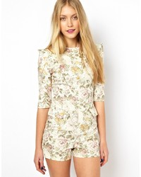 Combishort à fleurs beige Lavish Alice