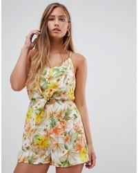 Combishort à fleurs jaune Gilli