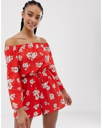 Combishort à fleurs rouge New Look