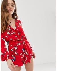 Combishort à fleurs rouge Parisian