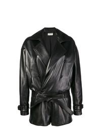Combishort en cuir noir Saint Laurent