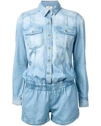 Combishort en denim bleu clair AG Jeans