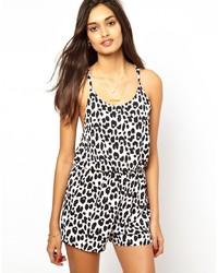 Combishort imprimé léopard blanc et noir