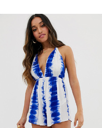 Combishort imprimé tie-dye blanc et bleu Asos Petite
