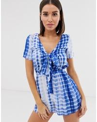 Combishort imprimé tie-dye blanc et bleu Missguided