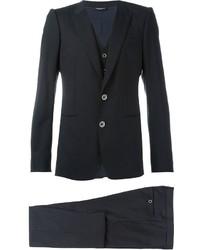 Complet en laine à rayures verticales noir Dolce & Gabbana