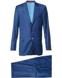 Costume à carreaux bleu Isaia